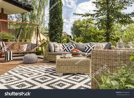 design villa new design villa patio comfortable rattan stock photo 475068424