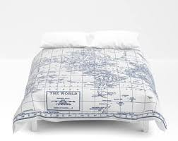 Travel Duvet Cover Map Duvet Cover Etsy
