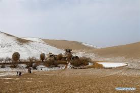 dunhuang sees first snowfall this winter chinadaily com cn