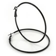 black hoop earrings slim black enamel hoop earrings 6cm diameter co uk