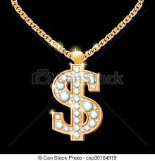hip hop style necklace images Dollar sign with diamonds on gold chain hip hop style vector jpg