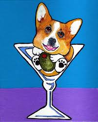 martini glass acrylic painting tan and white corgi in martini glass signed dog art print of