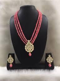 pendant necklace set images Three stranded pink kundan pendant necklace set deara fashion jpg