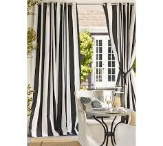 Black Outdoor Curtains Or Outdoor Grommet Black And White Drape