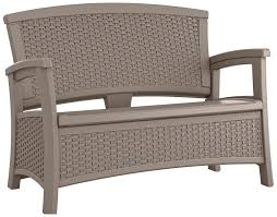 wicker patio storage amazon com suncast elements loveseat with storage dark taupe