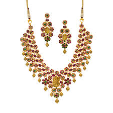emerald gold necklace images Buy gold ruby emerald necklace set online jpg