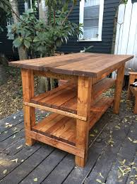 Kitchen Island Furniture Style Barn Wooden Top Rustic Kitchen Island With Brick Base Panel Also