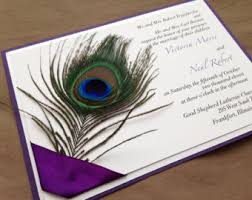 peacock wedding invitations peacock wedding invitations rectangle purple white black lettering