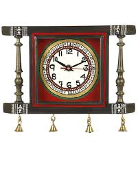 Wooden Wall Clock Buy Vareesha Square Handpainted Antique Wooden Wall Clock Online