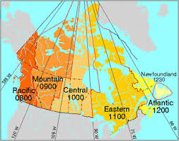 canadian map with time zones time zones and time the canadian encyclopedia