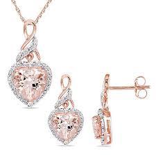 pink morganite 2 88ctw pink morganite and white diamond 10k gold heart