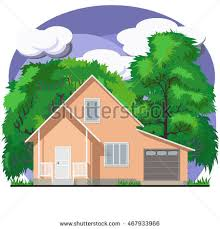 House With Garage Orange Twostory Facade Apartment House On Stock Vector 472172386