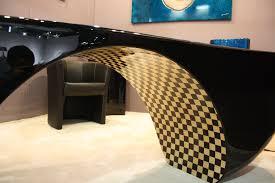 bureau design noir laqué f line creations agencement haut gamme et création de mobilier