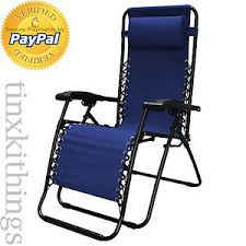 Back Support Recliner Chair Blue Reclining Camping Chair Head Rest Adjust Back Support