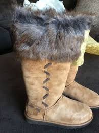 womens fur boots size 9 ugg brown suede high heels ankle boots size 9 uggaustralia