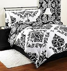 Bedding And Comforters Amazon Com Classic Noir Black White Damask Reversible 3 Piece