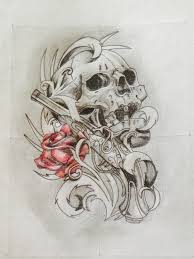 pencil drawings of designs design skull