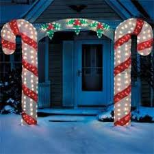 large candy cane bow arch clear lights stake christmas yard