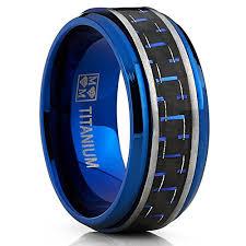 blue titanium wedding band men s brushed blue titanium wedding bands ring with black and blue