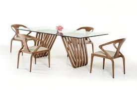 Contemporary Glass Dining Table Modrest Draper Contemporary Walnut U0026 Glass Dining Table