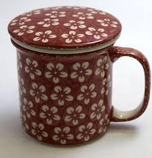 polish pottery tea infuser mug set modern red the polish