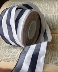 navy and white striped ribbon grosgrain navy and white formal five striped ribbon by tangledlair