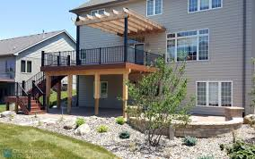 Pergola Off House by Timbertech Rosewood Deck With Pergola Des Moines Deck Builder