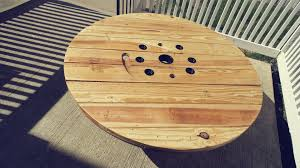 custom reclaimed spool coffee table by re klaim industriale