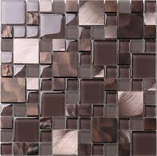 Brown Bronze Metal Glass Mix Kitchen Backsplash Tile - Bronze backsplash tiles
