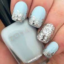 24k gold flakes mint blue blue nails and makeup