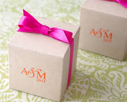 personalized wedding favor boxes eco friendly kraft monogram cube favor box