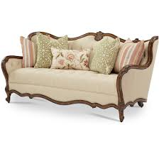 Tufted Sofa Living Room by Aico Michael Amini Lavelle Melange Wood Trim Tufted Sofa Living
