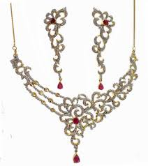 zircon necklace images Dual tone ruby zircon necklace made with sterling silver gleam jewels jpg
