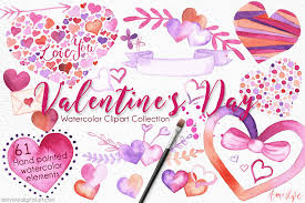 valentine u0027s day watercolor clipart set amistyle digital art