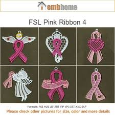 fsl pink ribbon ornament free standing lace machine embroidery