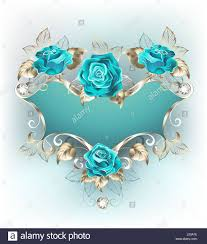 turquoise roses blue patterned banner with a patterned frame of white gold