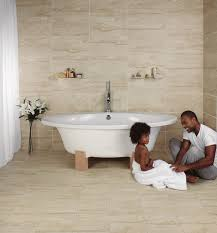 solace travertine matt cream wall and floor tile bathroom
