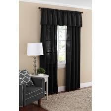 Black Valances Mainstays Textured Solid Valance Curtain Walmart Com