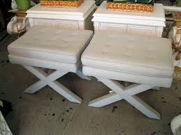 pair of upholstered x benches circa who