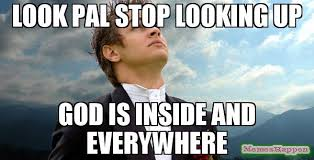 Everywhere Meme - look pal stop looking up god is inside and everywhere meme dear