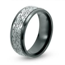 black titanium rings men s 8 0mm crackle pattern comfort fit wedding band in black