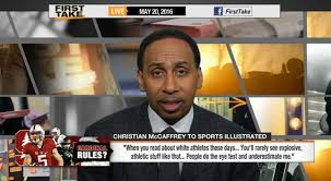 Stephen A Smith Memes - stephen a smith christian mccaffrey can blame his own white