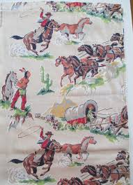 Western Drapery Fabric Vintage Cowboys Indians Horses Western Fabric Cotton 84