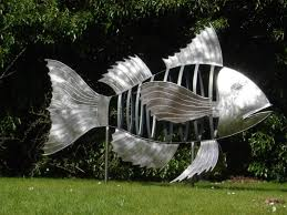 garden with silver fish ornament in large size decorative garden