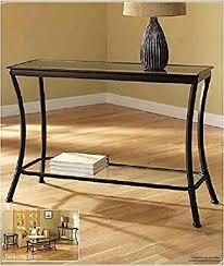 narrow entryway console table amazon com mendocino black console table stylish bronze metal