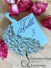 Laser Cut Table Numbers Peacock Wedding Table Number Laser Cut Paper Customizable Blue