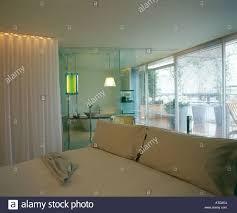 the sanderson hotel london suite looking through into bathroom