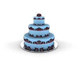blue cake on three floors with chocolate ornaments on it stock