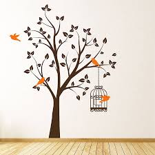 Wall Stickers Trees Original Tree With Bird Cage Wall Sticker Birds Wallpaper Designs