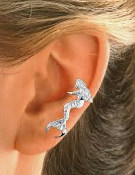 sitting mermaid sterling silver ear cuffs earrings left only